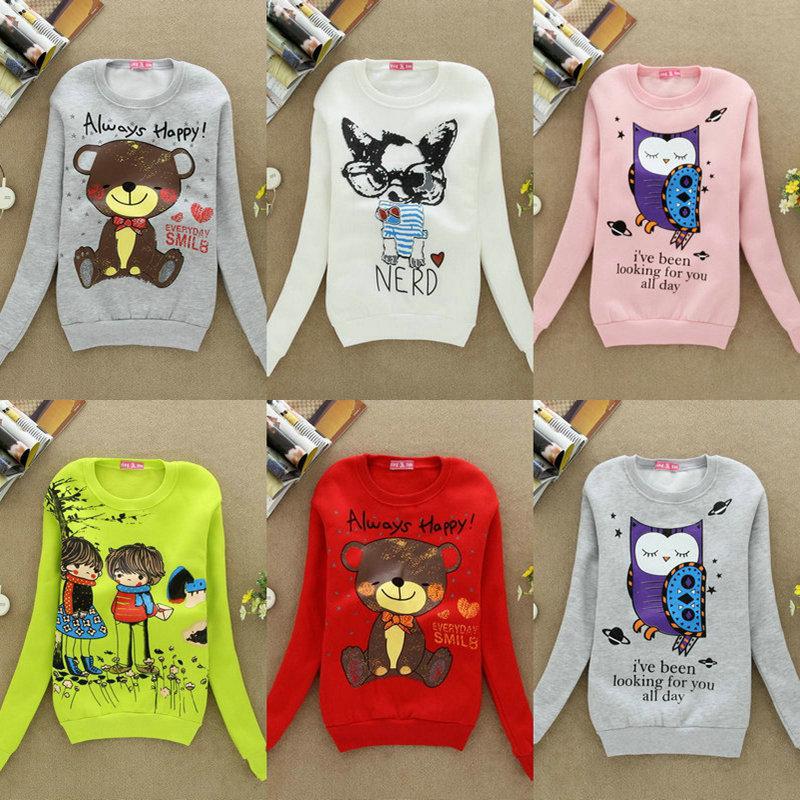 New 2013 Summer-Autumn women Animal Long sleeve fleece cartoon hoodie cardigans coat, Track hoodie warm jacket sweatshirt(China (Mainland))
