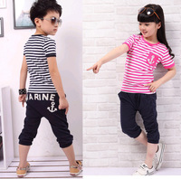 2014 summer new casual striped unisex children boy and girl suit set 2pcs t shirt wit pants 1 set Retail free shipping
