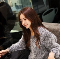 Hot selling  New fashion 2013 women Fluffy sweater Long Sleeve  O-neck Mohair Cute dress Winter clothes Free shipping