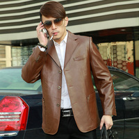 Wpkds 2013 fashion leather men jacket quality sheepskin genuine leather men casual leather suit hot sale