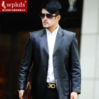Wpkds 2013 sheep genuine leather suit fashion slim medium-long male casual leather coat  men coat