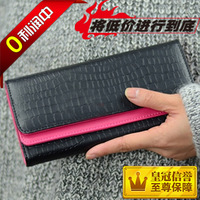 2013 wallet female stone pattern dual flip design women's long wallet color block wallet