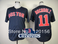 Hot ! Boston Red Sox11 Clay Buchholz Dark Blue Baseball Jerseys with2013 World Series Champions Patch Embroidered Logo Mix Order