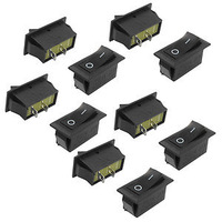 27x11mm AC 6A 250V 2 Terminal SPST on Off Black Boat Rocker Switch 10 Pcs