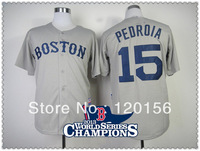 Hot ! Boston Red Sox 15 Dustin Pedroia Grey Baseball Jerseys with2013 World Series Champions Patch Embroidered Logo Mix Order