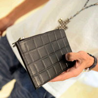 2013 male long design day clutch genuine leather cowhide wallet card holder plaid coin purse place card bag