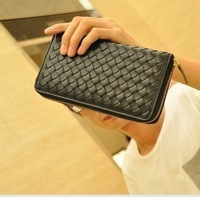 2013 male clutch zipper knitted long design wallet card holder fashion day clutch bag