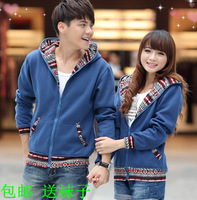 2013 autumn lovers slim sweatshirt outerwear male cardigan with a hood outerwear plus size men's clothing