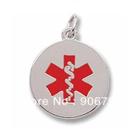 Free Shipping 10pcs a lot  rhodium  plated medical alert charm with red paint smooth and flat back for engraving