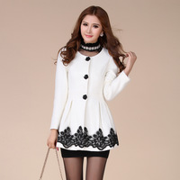 2013 small woolen thickening outerwear lace decoration overcoat slim