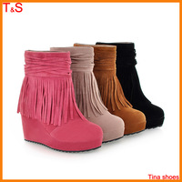 Free shipping woman winter fashion boots ankle wedges platforms tassel nubuck leather black autumn boot shoes  6-30