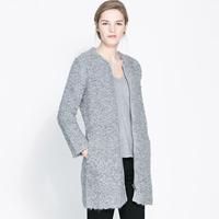 High Quality Light gray roll fur woolen long-sleeve Wool Blends Coat zipper outerwear jacket