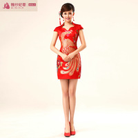 Bride fashion chinese style vintage lace cheongsam wedding dress formal dress summer evening dress dinner service