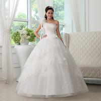 New arrival 2013 one shoulder lace wedding dress vintage princess oblique flower wedding dress