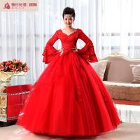 2013 new arrival princess vintage slit neckline red bandage flare sleeve lace wedding dress formal dress