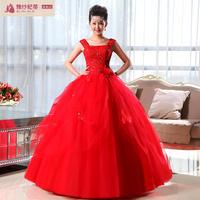 New arrival red 2013 slit neckline sweet princess elegant flower tube top slim strap wedding dress