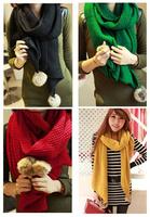 2014 new arrival solid marilyn monroe muslim hijab autumn and winter rabbit ball warm knitting scarf hj517 fashion acrylic