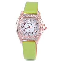 wholesale rectangle leather fashion crystal analog quartz wrist watch for girls leather watch free shipping