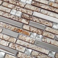 New arrvial kitchen backsplash tiles interlocking pattern bath wall liners tiles mosaic  stainless steel chips remolding tiles