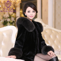 High quality fur coat medium-long female full leather rabbit cashmere overcoat hooded fox fur