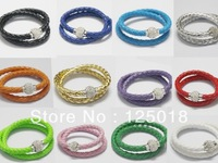 24Pcs/Lot Double Ring Leather Magnetic Crystal Buckle Bracelet 40CM