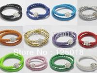 24Pcs/Lot Double Ring Leather Magnetic Crystal Buckle Bracelet 40CM