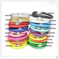 48pcs/lot Fashion 100% leather Magnetic  Magnet Bracelet Cuff PU 40cm Free shipping