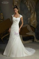 New Style Sheath Sweetheart Neckline Pleat Beades Lace And Satin Wedding Dresses 2013 Free Shipping