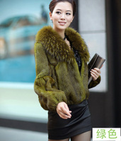Anti season hot-selling 2 013 raccoon fur full leather rabbit fur Women design short fur coat
