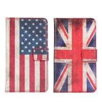 Fashion UK USA Retro National Flag Wallet Flip Leather Stand Case For Samsung s2 II I9100 With Credict Card