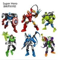 Decool Super Hero The Avengers Iron Man Hulk Batman Captain America Building Block Sets robot figure toy for children 6pcs/lot