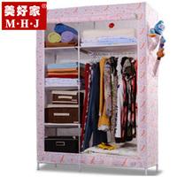 Non-woven wardrobe Large full steelframe wardrobe reinforced wardrobe simple casing