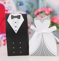 Free shipping 2000pairs=4000pcs/lot New Arrival Wedding Favor Box Bride and Groom Gift Box Candy Box with Ribbon