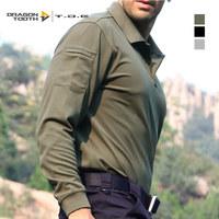 Tde Men quick-drying t-shirt fast drying clothing b2 long-sleeve turn-down collar shirt coolmax