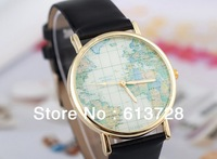 Hot sale  personalized map print  leather& metal watch ,decorative watch ,#w001,china post available