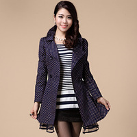 Women's trench female 2013 autumn and winter women slim stand collar double breasted trench polka dot outerwear