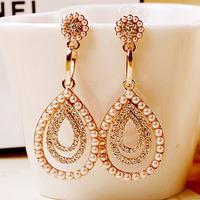 Free Shipping Luxury Statement Crysatl Earring Pearl Retro Vintage Wedding Gift Women Drop Earring Lady Jewelry Brinco Wholesale