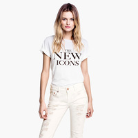 Free Shipping Women's Casual The New Icons Letter Print O-neck Short-sleeve T-shirt Tops XS-XXL