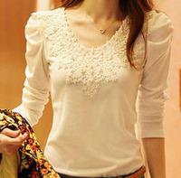 2013 autumn basic shirt lace top plus size clothing slim cotton t-shirt female long-sleeve