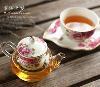 Fashion rose rustic grass tea afternoon tea ceramic glass flower pot cup single combination set tea set 2