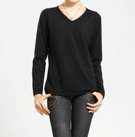 2013 women's V-neck all-match loose pullover cashmere sweater solid color sweater