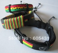 Jamaica star pattern hippies lovers Reggae Genuine Leather Bracelet / Bangles / Bracelets