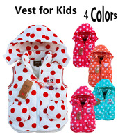 Hot Sale Polka Dot Vest for Kids, Dotted Cartoon Animal Embroided Vest Waistcoat With Detachable Hood  for Children 4 Colors