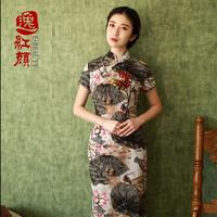 Painting fluid cheongsam 2013 autumn vintage autumn and winter long Qipao design long dress