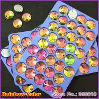 Sew on Crystal 14mm 36Pcs/Lot Rainbow Color Rivoli Round Flatback 2 holes Stone