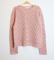 Vintage vintage autumn and winter pink Schreiner embroidered cardigan wool sweater