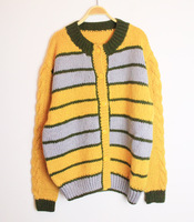 Vintage vintage turmeric color block decoration wool sweater cardigan
