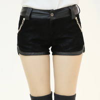 2013 autumn and winter women leather shorts boot cut jeans mid waist jeans metal chain slim hip