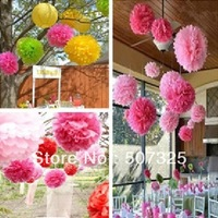 100pcs/LOT,  6'' Tissue Pom Pom Paper Pompoms Wedding Decoratons Party Poms House Decor, 25 Colors To Pick