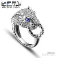 Blue 925 pure silver ring female finger ring leopard pinky ring fashion finger ring